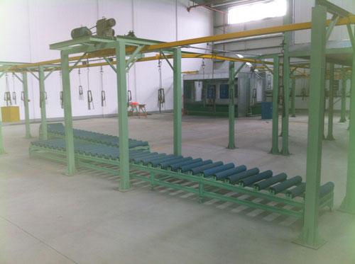 全自动喷漆原理:输送装置自动将铁桶送入封闭